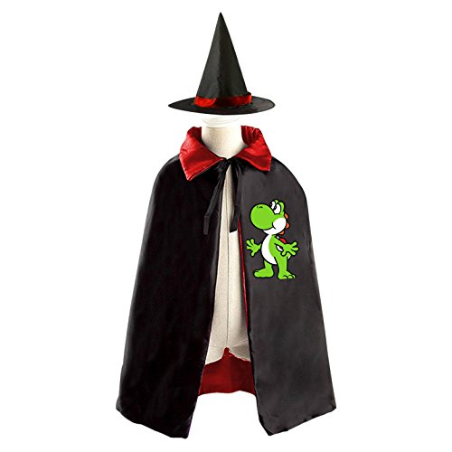 Yoshi Halloween Cloak Halloween Costume Children Cloak Cape Wizard Hat Cosplay For Kids Boys Girls Red