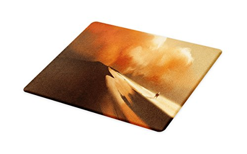 Lunarable Fantasy Cutting Board, Mysterious Shadow Man Walking Through Sand Storm in Desert Hiking Wind Hot Image Art, Decorative Tempered Glass Cutting and Serving Board, Small Size, Cream