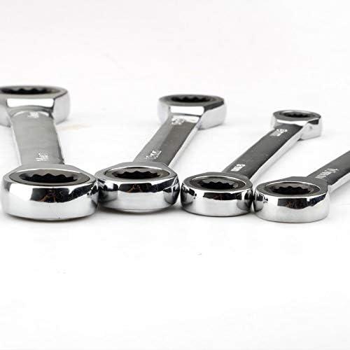 HONYGE LXGANG Chrome Vanadium Ring Double Head Ratchet Wrench Reversible 8-9-10-12-13-14-15-16-17-18-19mm Ratchet Combination Spanner Set (Color : 6pcs 6 17mm) 14 15