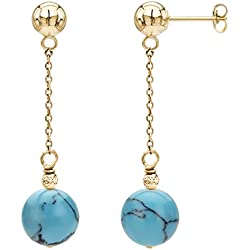 14k Yellow Gold 12mm Simulated Blue Turquiose with Sparkling Bead Dangle Stud Earrings
