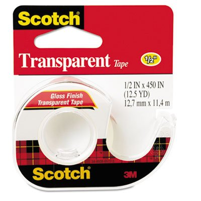 Transparent Tape in Hand Dispenser, 1/2'' x 450'', Clear, Total 144 RL, Sold as 1 Carton
