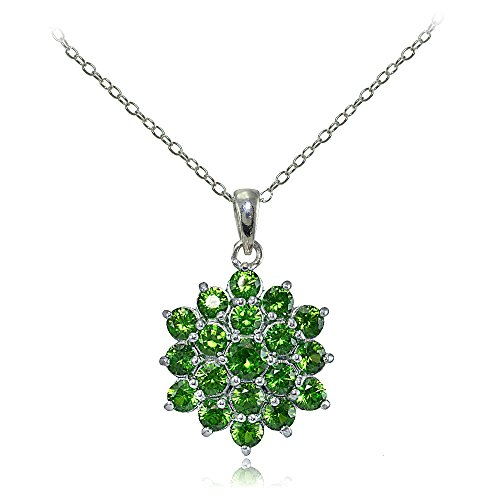 (Ice Gems Sterling Silver Created Emerald Flower Necklace)