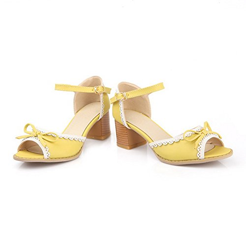 AmoonyFashion Womens Open Toe Kitten Heels Assorted Color Buckle Sandals Yellow R4uXmH