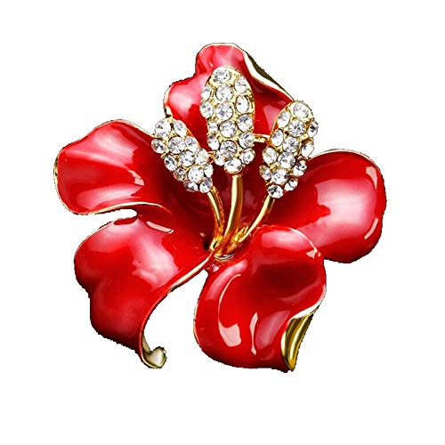 AILUOR Elegant Enamel Plum Blossom Flower Brooch Pin, Fashion Gold Plated Pearls Floral Brooch Lapel Pin for Women Girl Bridal Wedding Corsage Jewelry Gifts (Red)