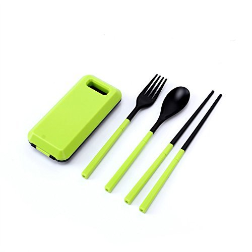 Andesan Outdoor Portable Spoon Fork Chopsticks Tableware Set with Case (Green)