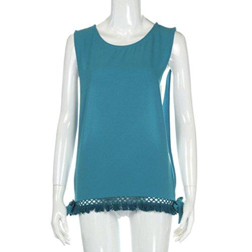 mujeres ropa ☀☀Damas borla hueco blusa casual camisetas sin mangas Azul