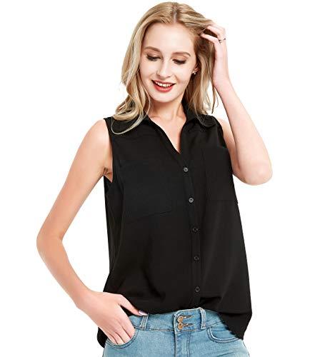 (Basic Model Women's Sleeveless Lapel V Neck Button Down Summer Tee Tops Blouse Black)