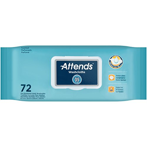 Attends Scented Washcloths for Adult Incontinence Care, hypoallergenic, Latex and Alcohol Free ,  72 Count (Pack of (Adult Non Latex)