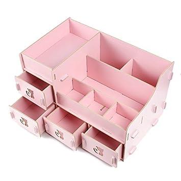 Amazon.com : Maquillaje cosmético de Madera de joyería de escritorio de bricolaje de almacenamiento envase de la caja rosa : Office Products
