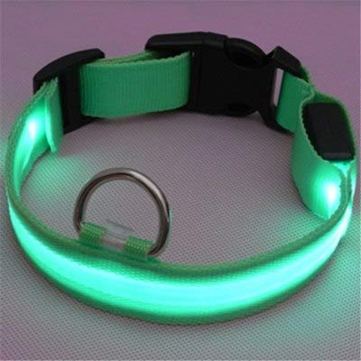 1 piece 1PC 2.5cm Nylon Led Pet Dog Collars Adjustable Leads Night Safety Flash Glow In The Dark Neck Head luminous Collars For ()