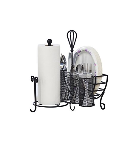 (Gourmet Basics by Mikasa 5176813 Avilla Picnic Plate Napkin and Flatware Storage Caddy with Paper Towel Holder, Antique Black)