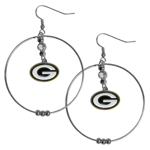 NFL Green Bay Packers Hoop Earrings, 2-Inch (Womens Packer Ring)