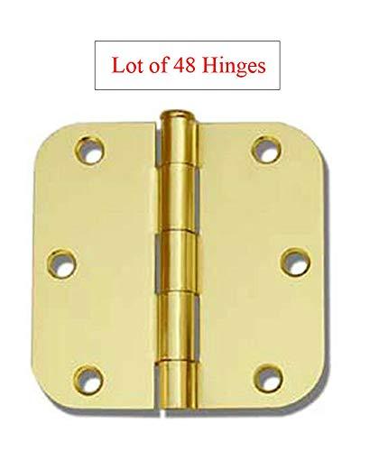 (48 Pack Polished Brass 3.5' x 3.5' 5/8 Radius Round Corner Interior Door Hinges)