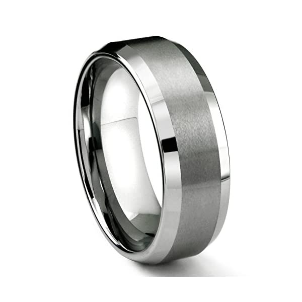8MM Tungsten Metal Men's Wedding Band Ring in Comfort Fit and Matte Finish Size 7-16 - 41URCnrG0RL - 8MM Tungsten Metal Men's Wedding Band Ring in Comfort Fit and Matte Finish Size 7-16