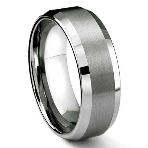 (8MM Tungsten Metal Men's Wedding Band Ring in Comfort Fit and Matte Finish Sz 14.0)