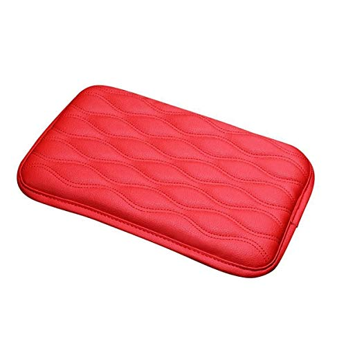 TRUE LINE Automotive Soft Leather Car Center Console Armrest Elbow Cushion Comfort Pillow Pad (RED)
