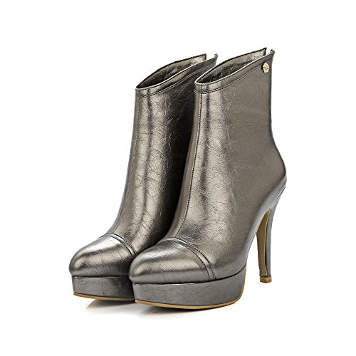 Allhqfashion Women's Low-top Zipper Soft Material High-Heels Pointed Closed Toe Boots Gold h1L53