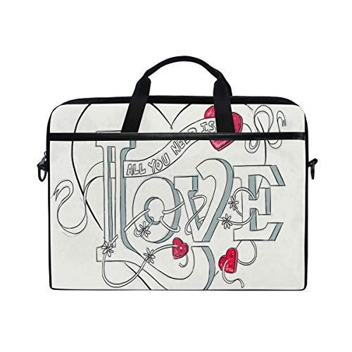 Drawing Valentine's Day Love 14-15 inch Laptop Case Computer Shoulder Bag Notebook Tablet Crossbody Briefcase Messenger Sleeve Handbag with Shoulder Strap Handle for Women Men Girls Boys