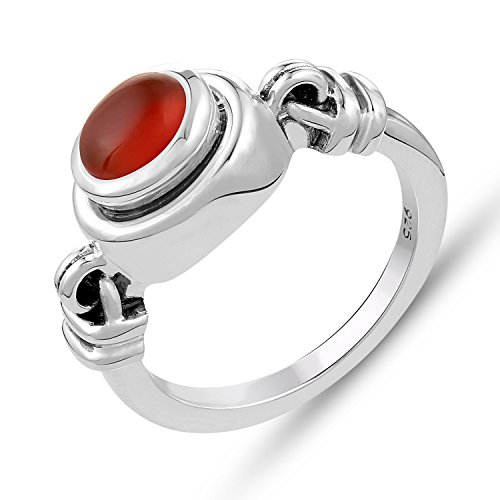 Genuine Gemstone Ring in .925 Sterling Silver- Carnelian Ring