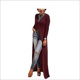 f6752507c Amazon.com  Flymall Women Long Sleeve Open Side Split Long Maxi Dress T  Shirts Tops (XL