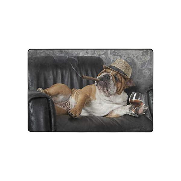 alaza English Bulldog with Cigar and Glass Area Rug Rugs for Living Room Bedroom 3'x2' 2