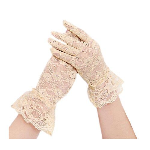 (Vintage Short Lace Gloves for Women Derby Tea Party Wrist Length Floral Gloves for Wedding Costume Gloves)