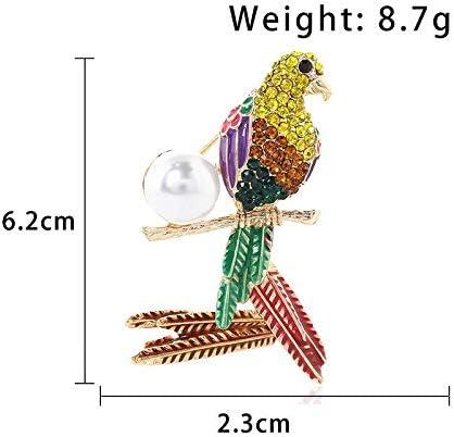 Hosaire Broche Epingle de Femme Forme de Perroquet Perl/é Strass Diamant Bijoux Corsage de Pin Brooch de D/écoration pour V/êtements /écharpe Jupe