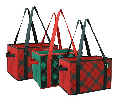 Earthwise Deluxe Collapsible Reusable Shopping Box Grocery Bag Set with Reinforced Bottom Plaid Holiday Xmas Christmas Design Storage Boxes Bins Cubes (Set of 3) (Holiday) (Basket Medium)