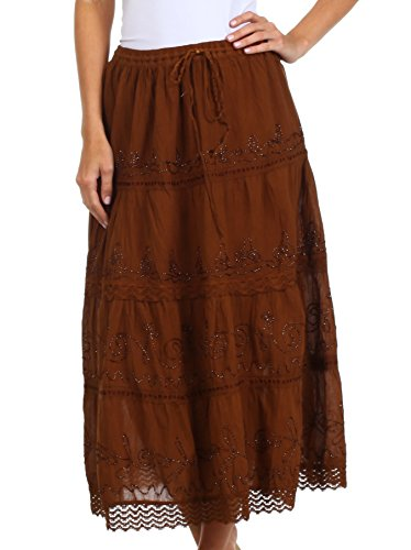 Sakkas 854 Solid Embroidered Crochet Lace Trim Gypsy Bohemian Mid Length Cotton Skirt - Brown / One Size
