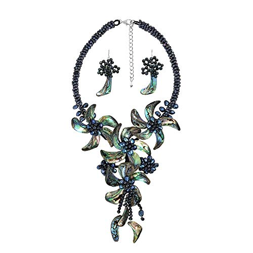 AeraVida Peacock Abalone Shell & Cultured Freshwater Black Pearl Floral Jewelry Set