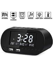 Radiowecker, FM Radiowecker Digital mit Zwei USB Ladeanschlüssen, Nakeey Digitaler Wecker,Reisewecker, Dual-Alarm,6 Helligkeit,7 Alarmtöne mit 16 Lautstärke für Schlafzimmer,Kind,Büro