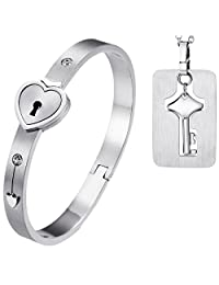2pcs His and Hers Love Heart Lock Macthing Bangle Bracelet Tag Pendat Necklace for Valentines Day gifts
