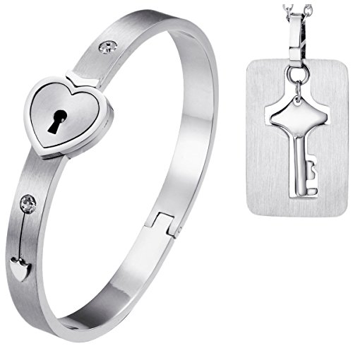 Oidea 2pcs His and Hers Love Heart Lock Matching Bangle Bracelet for 5.5-6.5 Inch Wrist, Tag Pendat Necklace - Heart Lock Bracelet