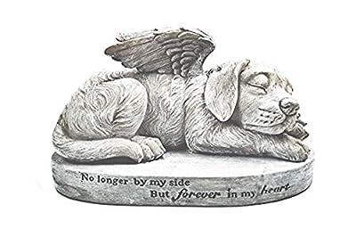 Bellaa 29691 Dog Statue Garden Memorial Sleeping Pet Angel Wing