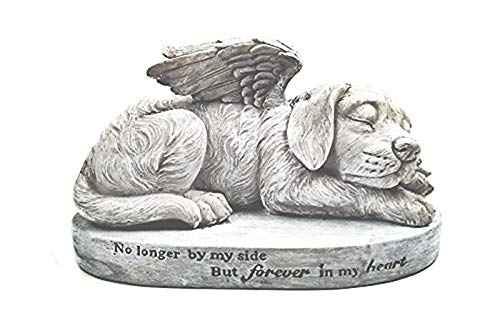 Bellaa Dog Statue Memorial Pet Sleeping Angel with Wings Garden Sculpture