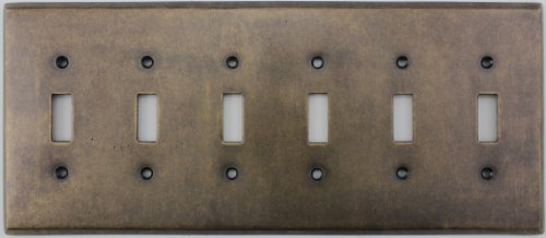 Aged Antique Brass Six Gang Toggle Light Switch Wall Plate