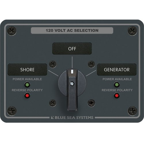 Blue Sea 8367 AC Rotary Switch Panel 30 Ampere 2 Positions + OFF, 2 Pole Blue Sea Ac Rotary Switch