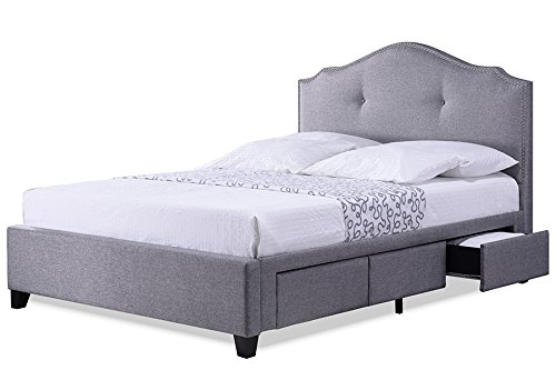 Contemporary Storage King Size Bed in Grey Fabric (Affordable Upholstered Bed)