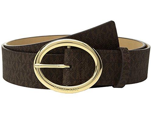 MICHAEL Kors Women's Signature Logo Belt (Chocolate, Large)