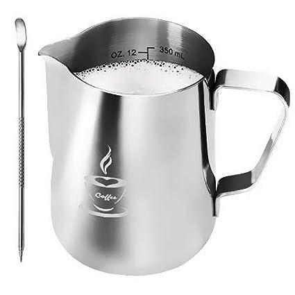 Jarra de leche de acero inoxidable 350 ml, Jarra con espuma de leche Tamaño perfecto para 2 tazas de Cappuccino, Máquina de café espresso, Pluma de ...