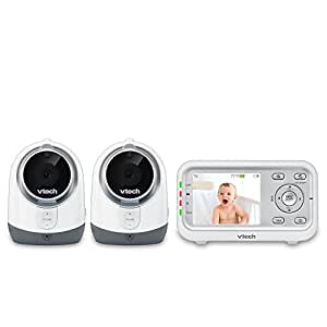 VTech VM3251-2 Video Baby Monitor with Automatic Infrared Night Vision, Soothing Sounds & Lullabies, Temperature Sensor & 1,000 feet of Range with 2 Cameras