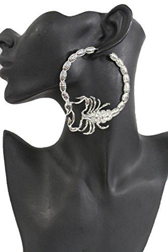 Katy Perry Costume Party City (TFJ Women Fashion Hook Earrings Set Big Silver Color Metal Scorpion Hoop Rhinestones)