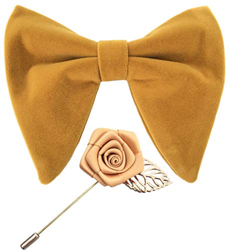 Mens Pre-Tied Oversized Velvet Bow Tie with Flower Lapel Pin Brooch for Suit Wedding Tuxedo Bowtie Set (Dark Yellow)
