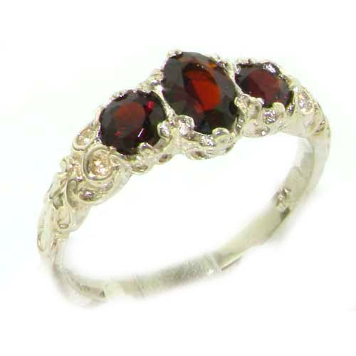 Ladies Solid Sterling Silver Real Genuine Garnet English Victorian Trilogy Ring - Size ()