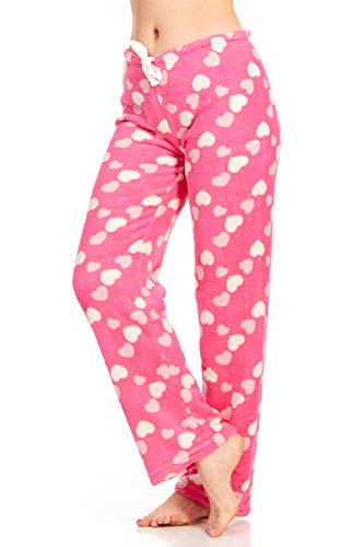 (Women's Super-Soft Plush Fleece Pajama Bottoms/Lounge Pants, Pink Hearts - Large)