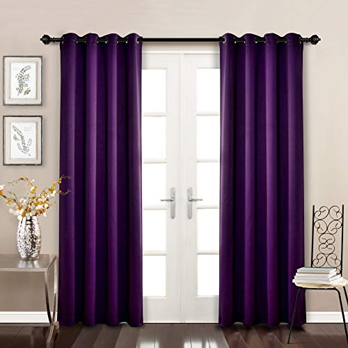 (MYSKY HOME Solid Grommet top Thermal Insulated Window Blackout Curtains for Bedroom, 52 x 84 Inch, Royal Purple, 1)