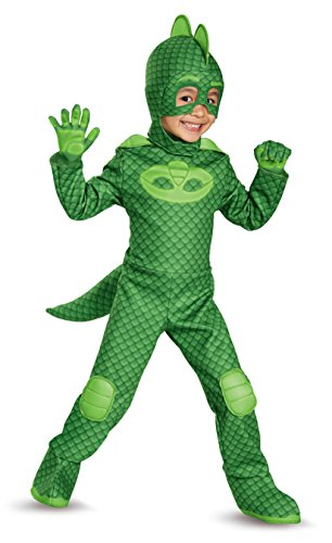 Gekko Deluxe Toddler PJ Masks Costume, Medium/3T-4T - Deluxe Costumes