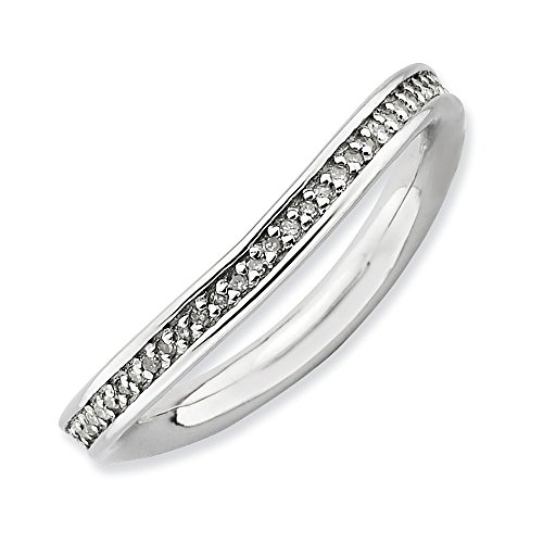 Roy Rose Jewelry Sterling Silver Stackable Expressions & Diamonds Rhodium-plated Wave Ring Size 9 by Roy Rose Jewelry