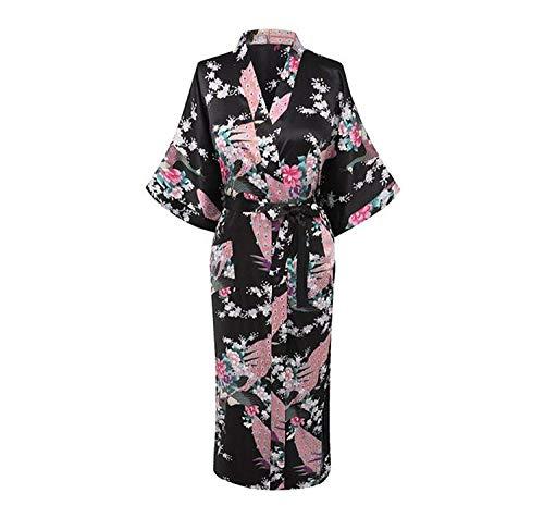 (Average Quality Bathrobe Women Wedding Bride Bridesmaid Robe Nightgown Sleepwear Flower Kimono Gown Plus Size S-XXXL,Black,XX-Large)