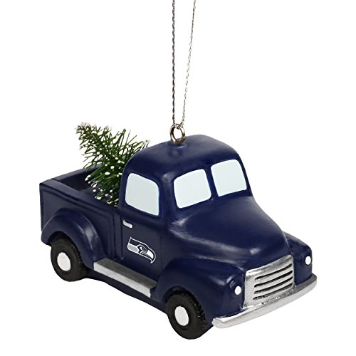 Seattle Seahawks NFL Team Logo Truck With Tree Holiday Tree Ornament
